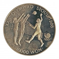 Corea del Sur 10000 Won. 1987. AG. 33,62gr. Ley:0,925. (Olimp.Seul-Voleybol). Ø39mm. PRF. KM. 63