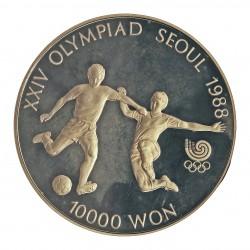 Corea del Sur 10000 Won. 1988. AG. 33,62gr. Ley:0,925. (Olimp.Seul-Futbol). Ø39mm. PRF. KM. 77