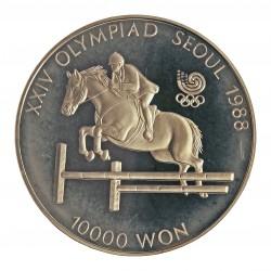 Corea del Sur 10000 Won. 1988. AG. 33,62gr. Ley:0,925. (Olimp.Seul-Hipica). Ø39mm. PRF. KM. 75