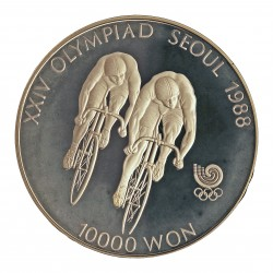 Corea del Sur 10000 Won. 1988. AG. 33,62gr. Ley:0,925. (Olimp.Seul-Ciclismo). Ø39mm. PRF. KM. 76
