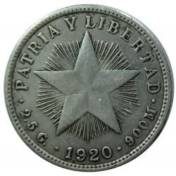 Cuba 10 Ctvo. 1920. AG. 2,5gr. Ley:0,900. (Tipo Estrella). Ø18mm. MBC-. ESCASO/A. KM. 12