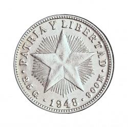 Cuba 10 Ctvo. 1948. AG. 2,5gr. Ley:0,900. (Tipo Estrella). Ø18mm. EBC+. (Tono original). KM. 12