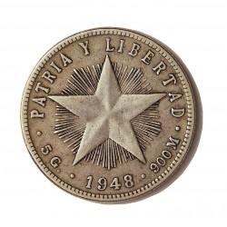 Cuba 20 Ctvo. 1948. AG. 5gr. Ley:0,900. (Tipo Estrella). Ø23mm. MBC. KM. 13.2