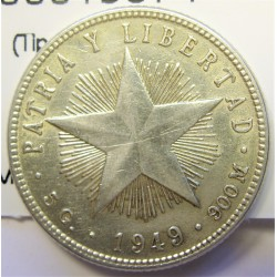 Cuba 20 Ctvo. 1949. AG. 5gr. Ley:0,900. (Imagen tipo). (Tipo Estrella). Ø23mm. MBC+. KM. 13.2