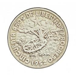 Cuba 20 Ctvo. 1952. AG. 5gr. Ley:0,900. (50 Anv.Republica). Ø23mm. MBC/MBC+. KM. 24