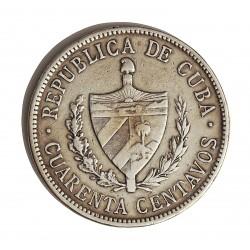 Cuba 40 Ctvo. 1915. AG. 10gr. Ley:0,900. (Tipo Estrella). Ø29mm. MBC/MBC+