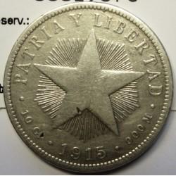 Cuba 40 Ctvo. 1915. AG. 10gr. Ley:0,900. (Tipo Estrella). Ø29mm. BC+