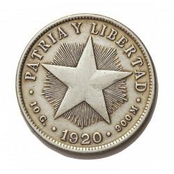 Cuba 40 Ctvo. 1920. AG. 10gr. Ley:0,900. (Tipo Estrella). Ø29mm. MBC-. KM. 14.3