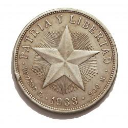 Cuba 1 Pesos. 1933. AG. 26,73gr. Ley:0,900. (Tipo Estrella). Ø38mm. MBC/MBC+. Gptos.cto.). KM. 15.2