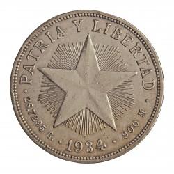 Cuba 1 Pesos. 1934. AG. 26,73gr. Ley:0,900. (Foto tipo). (Tipo Estrella). Ø38mm. KM. 15.2