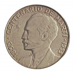 Cuba 1 Pesos. 1953. AG. 26,73gr. Ley:0,900. (Imagen tipo). (Cº J.Marti). Ø39mm. MBC/MBC+. KM. 29