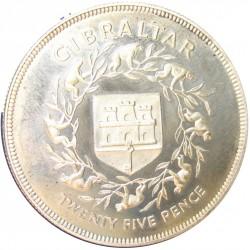 Gibraltar 25 New Pence. 1977. AG. 28,28gr. Ley:0,925. (Jubileo). Ø38mm. PRF. KM. 10 a