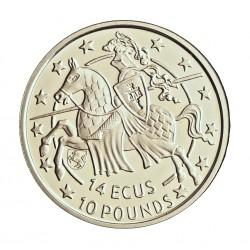 Gibraltar 10 Libra/Pound. 1992. AG. 10gr. Ley:0,925. (14 Ecu)-(Stuttgart). Ø30mm. PRF. KM. 624