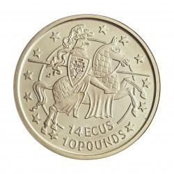 Gibraltar 10 Libra/Pound. 1992. AG. 10gr. Ley:0,925. (14 Ecu). Ø30mm. PRF. KM. 87