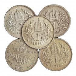 Austria-(y Estados) LOTE. 1894. 1916. AG. 25gr. Ley:0,835. (5 Monedas de 1 Corona. 1894, 1908, 13, 14, y 1919. Ø23mm. MBC-/EBC.