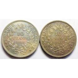 Francia 10 Francos. 1967. 1968. A-(Paris). AG. 50gr. Ley:0,900. (LOTE de 2 monedas de 10 Fr. Ø37mm. SC-. KM. 932 - GAD. 813