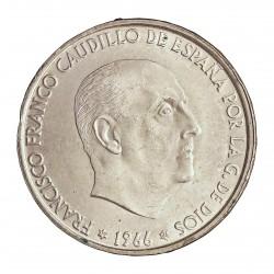 España 100 Ptas. 1966. *66. AG. 19gr. Ley:0,800. Ø34mm. SC. (Su Tono y Brillo originales)