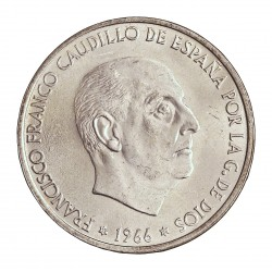 España 100 Ptas. 1966. *68. AG. 19gr. Ley:0,800. Ø34mm. SC. (Su Tono y Brillo originales)