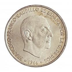 España 100 Ptas. 1966. *68-(Flojas). AG. 19gr. Ley:0,800. Ø34mm. SC. (Su Tono y Brillo originales)