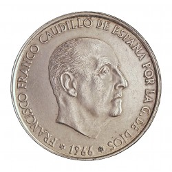 España 100 Ptas. 1966. *19*70. AG. 19gr. Ley:0,800. ( Estrella RECTIFICADA). Ø34mm. MBC/MBC+. CT. 18 - HG. 356