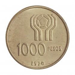 Argentina 1000 Pesos. 1977. AG. 10gr. Ley:0,900. (Futbol'78). Ø28mm. SC. KM. 53