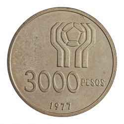 Argentina 3000 Pesos. 1977. AG. 24,8gr. Ley:0,900. (Futbol'78). Ø37mm. SC. KM. 55