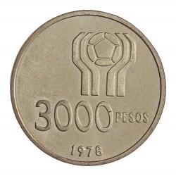 Argentina 3000 Pesos. 1978. AG. 24,8gr. Ley:0,900. (Futbol'78). Ø37mm. SC. KM. 55