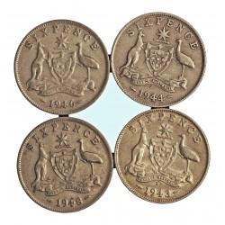 Australia LOTE. 1943. 1948. AG. 11,32gr. Ley:0,712. (Fechas: 1943 ,44,46 y 48). (4 Monedas 6 pence. Dif. fecha). Ø19mm. EBC-/EBC