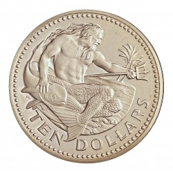 Barbados 10 Dolar. 1975. AG. 37,9gr. Ley:0,925. (Neptuno). Ø42mm. PRF. KM. 26 a