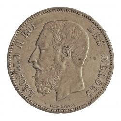 Belgica 5 Francos. 1869. AG. 25gr. Ley:0,900. Ø37mm. MBC. KM. 24