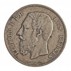 Belgica 5 Francos. 1873. AG. 25gr. Ley:0,900. Ø37mm. MBC-. KM. 24