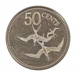 Belice 50 Cts. 1975. AG. 9,94gr. Ley:0,920. (Pajaros Fragata). Ø17mm. PRF. KM. 94 a