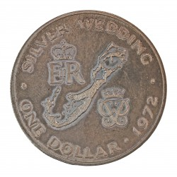 Bermuda 1 Dolar. 1972. AG. 28,28gr. Ley:0,500. (Bodas de plata). Ø38mm. SC. KM. 22