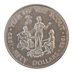 Caribe-Est.d.Este 50 Dolar. 1983. AG. 28,28gr. Ley:0,925. (Año Int.de los BoyScout). Ø38mm. PRF. KM. 17