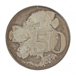 Cayman.-Islas 50 Cent. 1974. AG. 10,3gr. Ley:0,925. (Pez Emperador caribeño). Ø28mm. SC. KM. 5