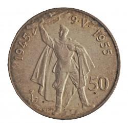 Checoslovaquia 50 Korun. 1955. AG. 20gr. Ley:0,900. (10º Anv.Liberación de Alemania). Ø27mm. SC-. KM. 44