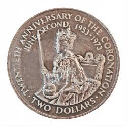 Coock.-Islas 2 Dolar. 1973. AG. 25,7gr. Ley:0,925. (20º Anv.Coronación). Ø38mm. SC. KM. 8
