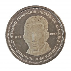 Costa Rica 300 Colon. 1981. AG. 10,97gr. Ley:0,925. (200º Anv. Fundación Ciudad de Aldajuela). Ø27mm. SC. KM. 223