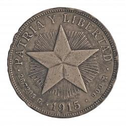Cuba 1 Pesos. 1915. AG. 26,73gr. Ley:0,900. (Imagen tipo). (Tipo Estrella). Ø38mm. MBC-. KM. 15.1