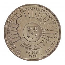 Dominicana.-Rep. 1 Pesos. 1974. AG. 26,7gr. Ley:0,900. (12º Jgos.America Central y Est.Caribe). Ø37mm. SC. KM. 35
