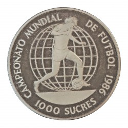 Ecuador 5 Sucre. 1986. AG. 23,33gr. Ley:0,925. (Camp.Mundial de Futbol). Ø38mm. PRF. KM. 86