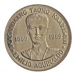 Filipinas 1 Piso. 1969. AG. 26,45gr. Ley:0,900. (100º Anv.de E.Aguinaldo). Ø38mm. SC. KM. 201