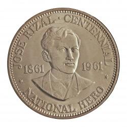 Filipinas 1 Pesos. 1961. AG. 26gr. Ley:0,900. (100º Anv.J.Rizal). Ø38mm. SC. KM. 192