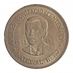 Filipinas 1 Pesos. 1963. AG. 26,6gr. Ley:0,900. 100º Anv.Andres Bonifacio). Ø38mm. SC. KM. 193
