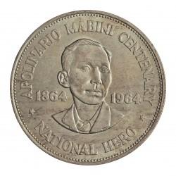 Filipinas 1 Pesos. 1964. AG. 26,6gr. Ley:0,900. (100º Anv.Apolinario Mabini). Ø38mm. SC. KM. 194