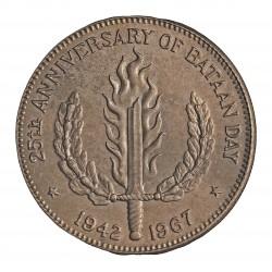 Filipinas 1 Pesos. 1967. AG. 26gr. Ley:0,900. (25º Anv.Bataan). Ø38mm. SC. KM. 195