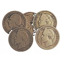 Francia 2 Francos. 1823 a.1869. (Cecas Varias). AG. 50gr. Ley:0,900. (Cecas: Bordeaux,Paris, Strasbourg, Lille). (LOTE de 5 mon