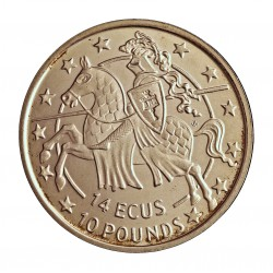 Gibraltar 10 Libra/Pound. 1992. AG. 10gr. Ley:0,925. (14 Ecu). Ø30mm. SC. KM. 89