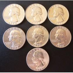 Usa LOTE. 1964. Filadelfia. AG. 50gr. Ley:0,900. (8 Monedas de 1/4 $). Ø24mm. SC. (Tono original). KM. 195