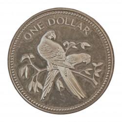 Belice 1 Dolar. 1975. AG. 19,89gr. Ley:0,925. (Guacamayos Escarlata). Ø35mm. PRF. KM. 43 a